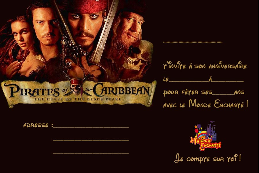 Invitation Pirates des Caraibes